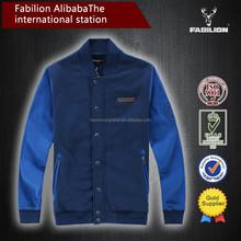 Men's fashion cotton custom made baseball jacket for mens hoodie jacket