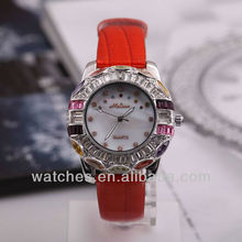 2012 Winter New Hot Red Color Crystal Leahter Womens Watches Fashion