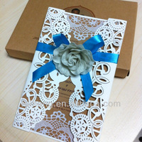 decorationed bow and white Rose paper laser cut wedding invitation cards designs