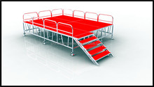 Aluminum Modular Portable Staging with Red Carpet Decks