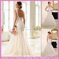 WD7620 famours brand for wholesales champagne U back zipper bride wedding dress lace dress