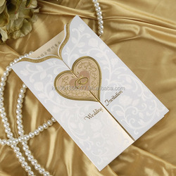 Gold Heart Wedding Invitations Cards +Envelopes + Seals/CL5082