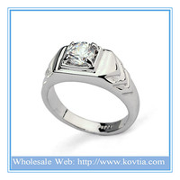 High end white gold plated successful men's zircon ring