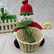 Fashion wholesale custom handmade basket storage straw promotional gift christmas snowman chinese basket