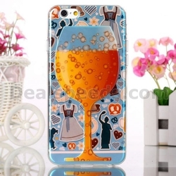 Wine Glass Cup Design IMD Craft Blue Ray TPU Case for iPhone 6 6S Beer