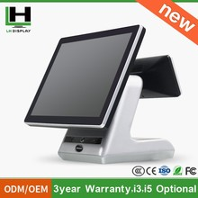 "2015 15"" Dual Screen Capactive Touch POS Intel i3 i5 i7 processor optional /Restaurant Touch Screen Cash Register"