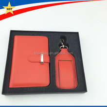 Fashion passport cover and luggage tag leather travel gift set