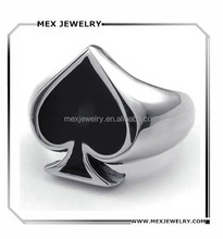 Stainless Steel Fashion Men's Rings Playing Card Poker Spade, Black Silver