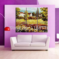 3 piece modern decor art set pastoral scenery landscape golden autumn flowers hand painted Oil Painting on Canvas