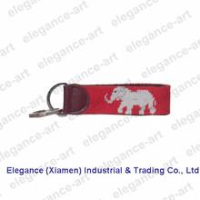Promotional Customized Elephant Needlepoint Key Ring