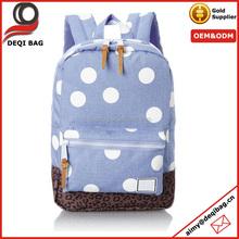 White polka dot kids school backpack bag