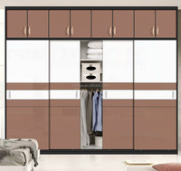 modern wardrobe glass closet sliding door with locks