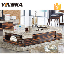 China Natural Red Travertine Marble Top Solid Wood Coffee Table