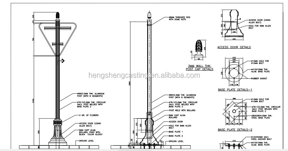 Light Poles Drawing Hot Sale Cast Iron Light Post