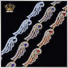 gorgeous sparkling red blue black crystal rhinestone cup chain trim sew on bridal wedding dress