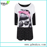 sexy casual printed girls dress 2016 new design knitted dress for women&ladies