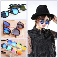 RIGWARL Hot Selling Multicolour Mirror glasses Girl Fashion Cheap Mirror Sunglasses High Quality