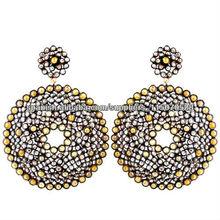 Aretes en Oro Amarillo 14k y Plata Esterlina 925 Venta al Por Mayor de Joyeria con Diamantes Incrustados Aretes para Mujer