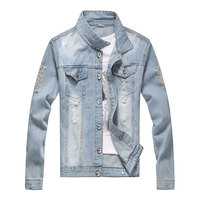 Fall 2015 Men Denim Jacket Big Size 3XL Outdoor Casual Youth Fashion Cowboy Clothes Blue Jeans Coat CJ1532