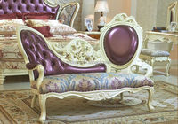 European Style Bed End Stool, Beautiful Designed Wood Carved Chaise Lounge Chair, Palace Princess Sofa Chair (BF01-ML026)
