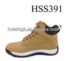 2015 Europe popular ankle height men safety trainers/sport shoes in honey color