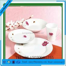 new color glaze hard porcelain unique square shape green dinner plates with decal set (SHQ13-075)