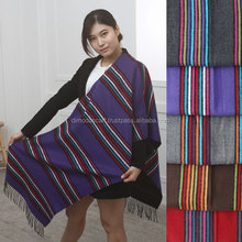 RAINBOU STRIPE 100% Acrylic shawl stole Winter Border Korean woven SCARF G0024