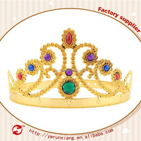 Wholesale gold or sliver plastic crowns and tiaras for kids,pageant crowns,birthday princess crown for girls