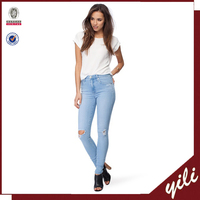 fashion faded finish and distressed patches Mid-Rise Skinny Jeans casual women's pants