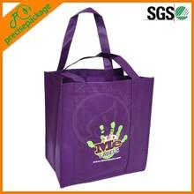 Purple non woven shopping bag with creative image