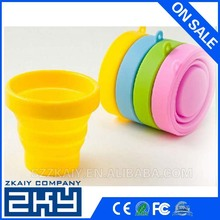 Foldable silicone cup with lid/cap can be with custom logo printed