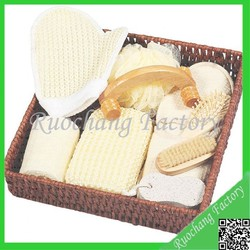 Promotional Wooden Bathroom Shower Gift Set with Loofah