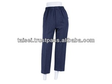 Easy to wear women's trousers & pants with elastic waist rubber at affordable price