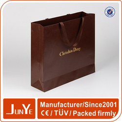 reusable embossing lined brown paper bags for shopping