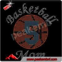 Hot Sale Sports Season Crystal Baseketball Mom Hotfix Motif Rhinestone for Clothes