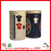 2015 luxury customized cloth packing cylinder cardboard t shirt tube