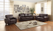 Dark Brown Bonded Leather Living Room Sofa Set,Modern Fashion Country Style Sofa,Loveseat, Chair Set(MK8011)