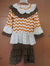 real pic of halloween holiday orange chevron ruffle boutique outfit
