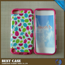 Hot selling fancy design cell phone case for ipod touch 5 2 in 1 pc silicone hybrid combo case