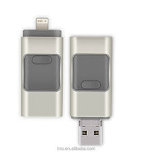 Shenzhen Metal silver 3 in 1 OTG USB Flash drive OTG pendrive 8gb for iPhone