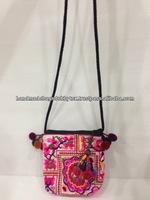 Thailand handmade Embroidery Hmong Tribe cross body bags with PonPons strap HCR11 with free ponpons keychain