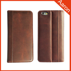 For iphone 6 top grain folio opening wax & oil mobile phone case leather case cell phone case