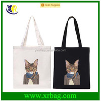 Fashion new cat cartoon shopping canvas cotton fabric tote bags