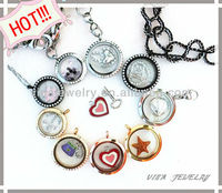 HOT!!! 2013 popular Stainless steel locket pendant with floating charms