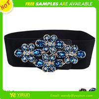 Wholesale belt with colorful handmade crystal buckle waist elastic belt for women dress