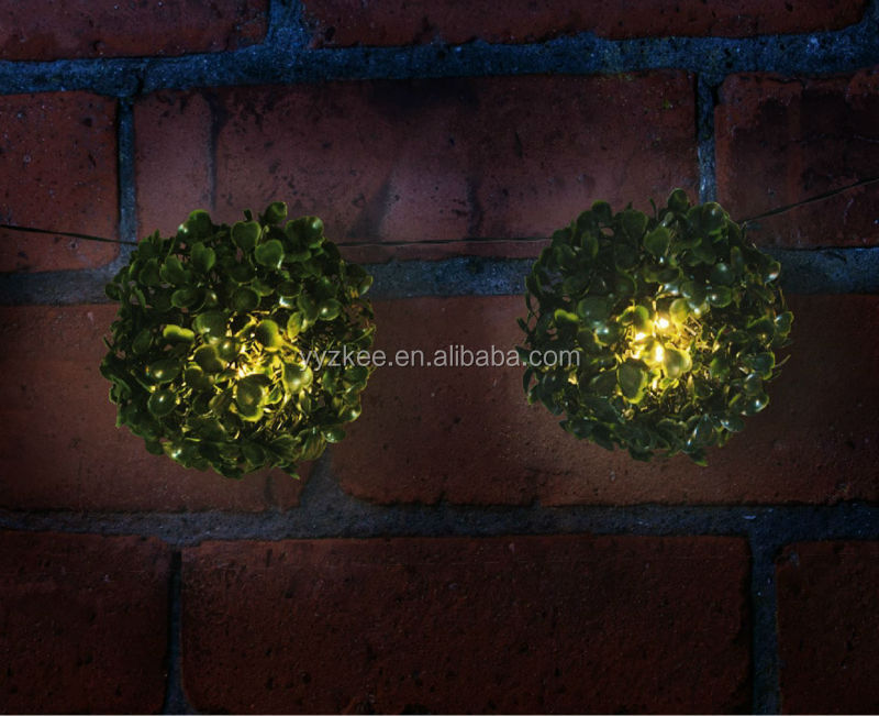 Solar String Lights For Palm Trees : Solar Powered Artificial Topiary Garss Ball Palm Tree String Lights Garden Patio Fence Tree Wall ...