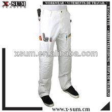 Algodón con múltiples bolsillos del pintor en blanco pantalones