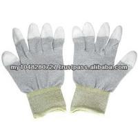 13 Gauge White Nylon Liner Coated White PU on Finger Tips Gloves/PU Fabric Gloves
