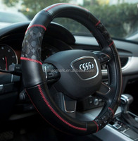 Black leather auto steering wheel cover