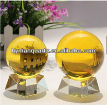 fused crystal egg, yellow quartz sphere, decorative quartz sphere